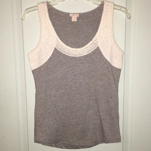 Gray lace detailed tank